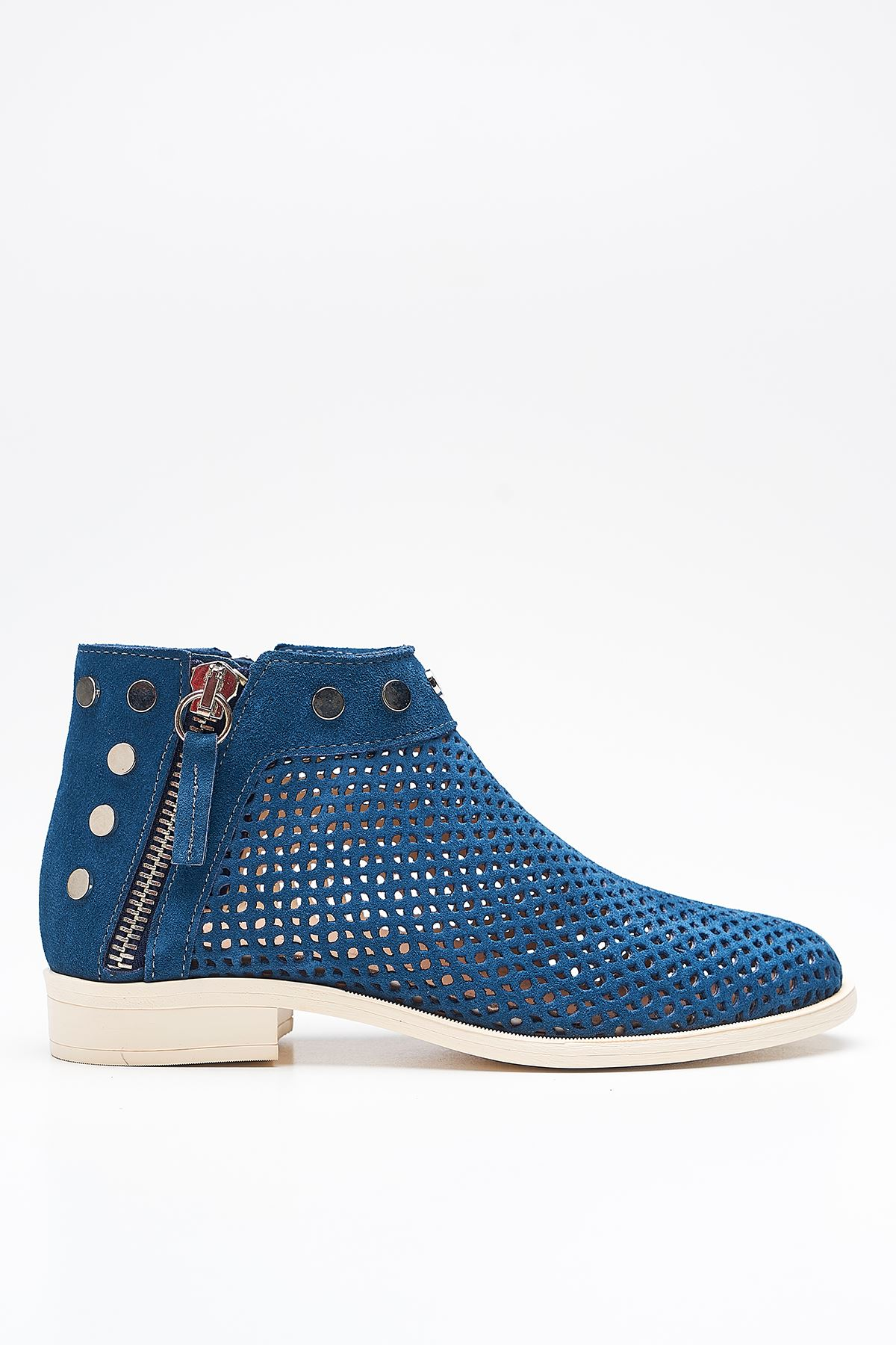 Shore Blue Genuine Leather Women's Summer Boots
