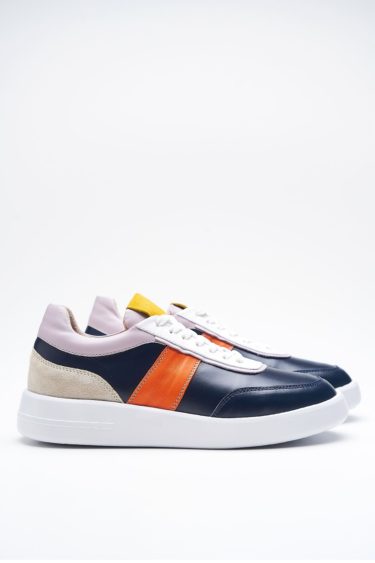 Lupin Navy Blue Genuine Leather Women Sneakers
