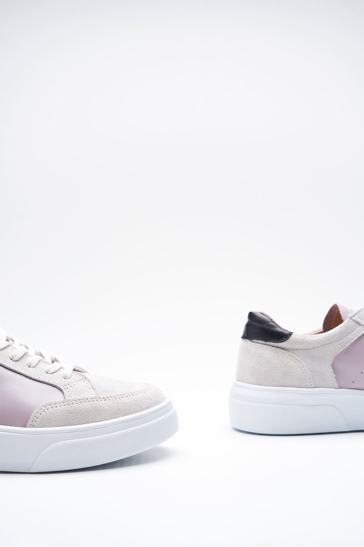 Hedwig White Grey Genuine Leather Women Sneakers