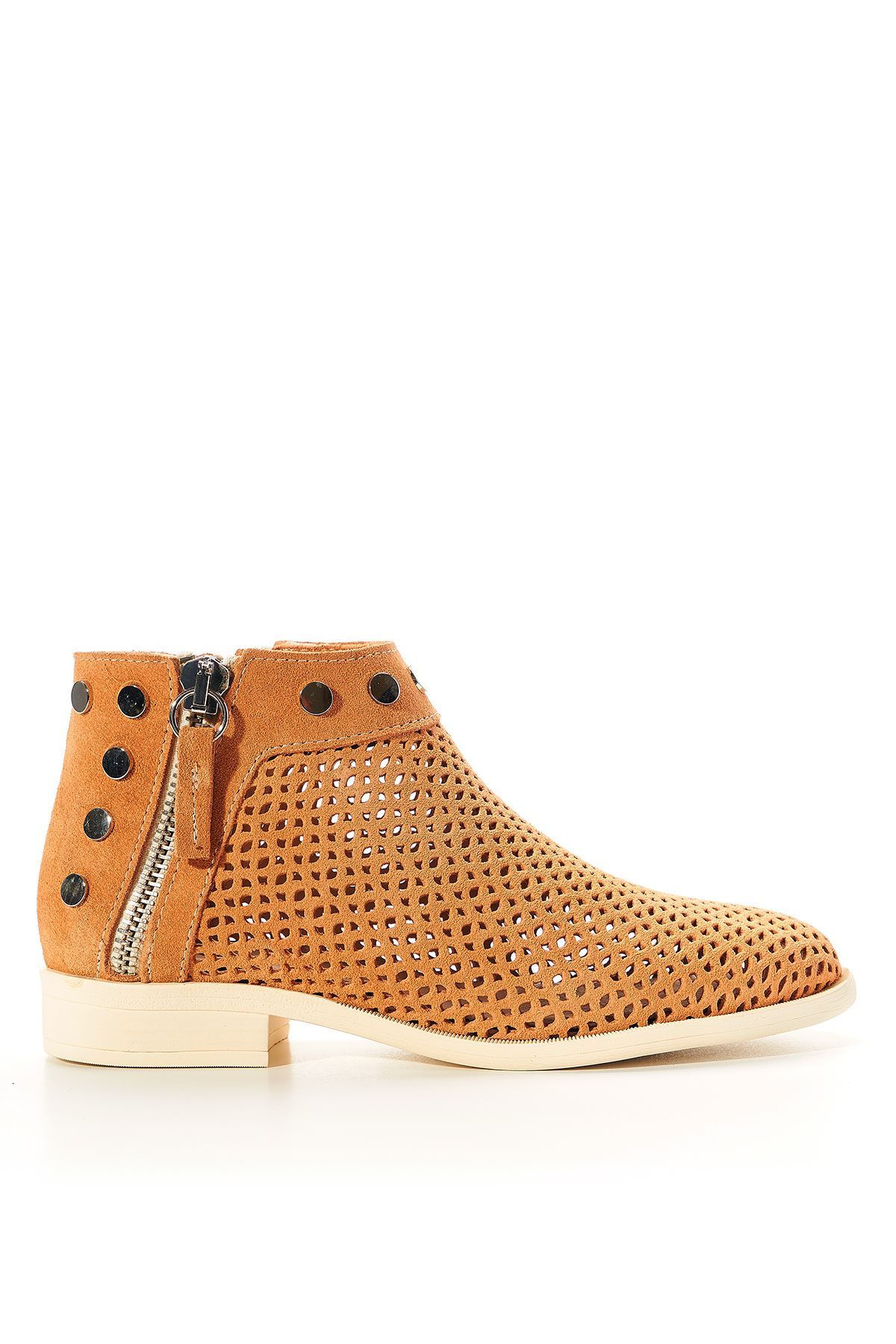 Shore Orange Genuine Leather Women's Summer Boots