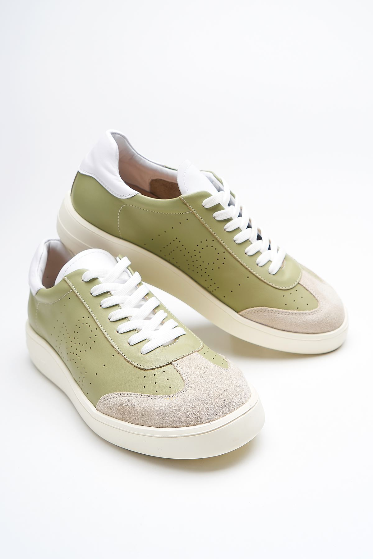 Alastor Green Genuine Leather Women Sneakers