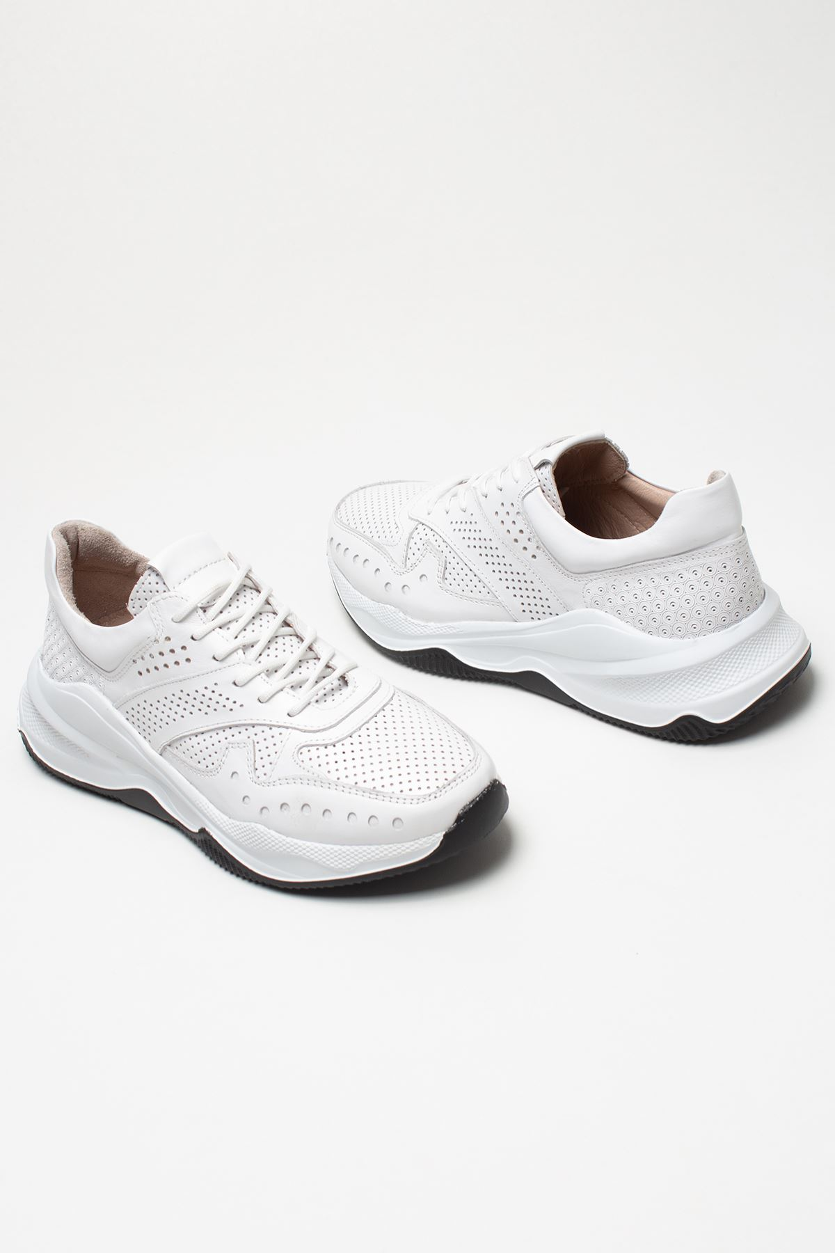 Nixus White Genuine Leather Women Sneakers
