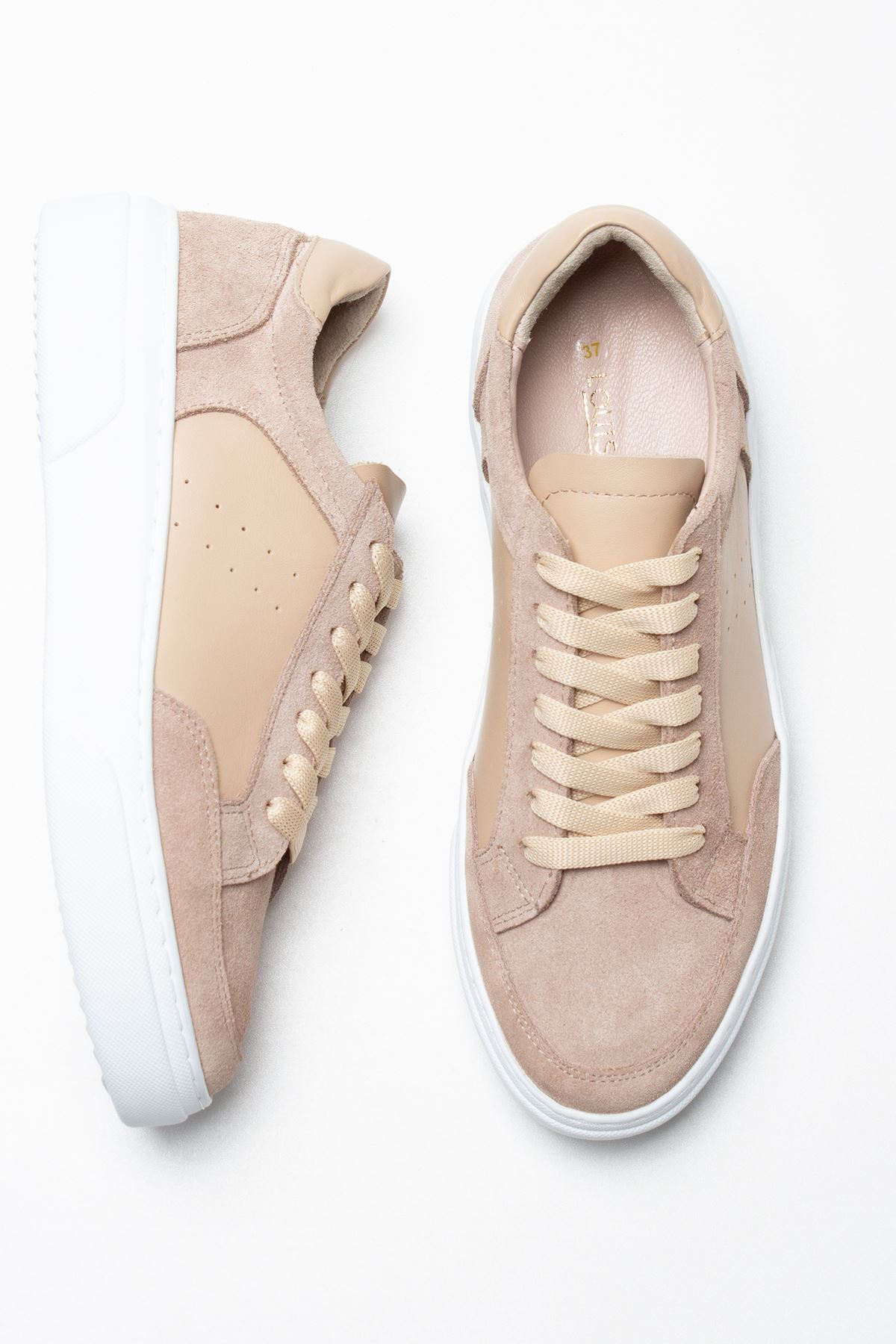 Hedwig Beige Genuine Leather Women Sneakers