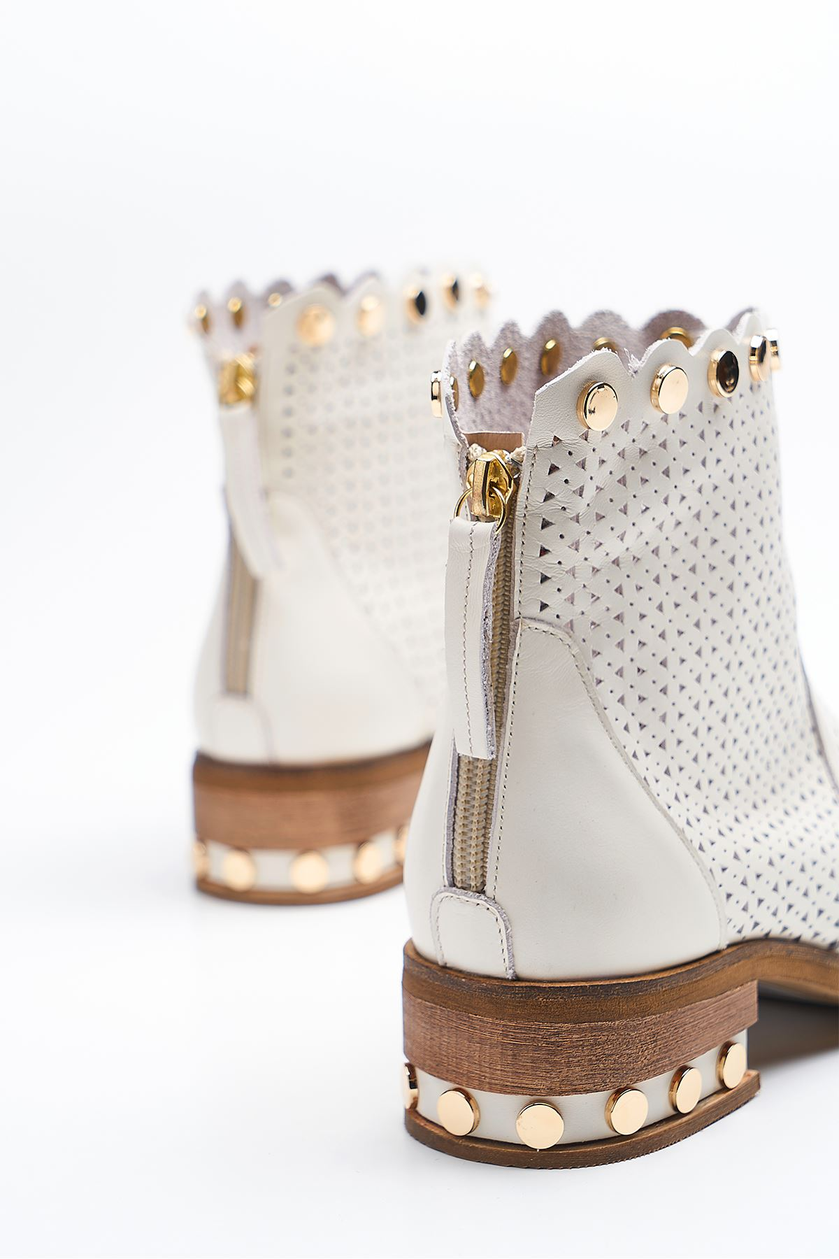Gust White Genuine Leather Women's Summer Boots