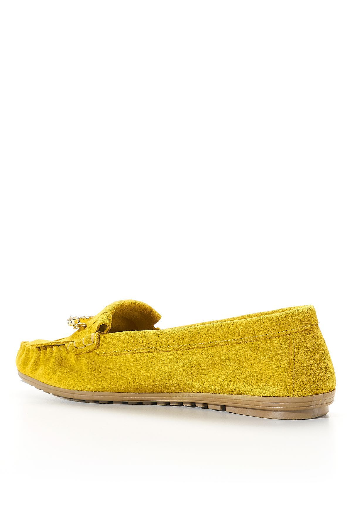 Rugosa Yellow Genuine Leather Women Flat Shoes